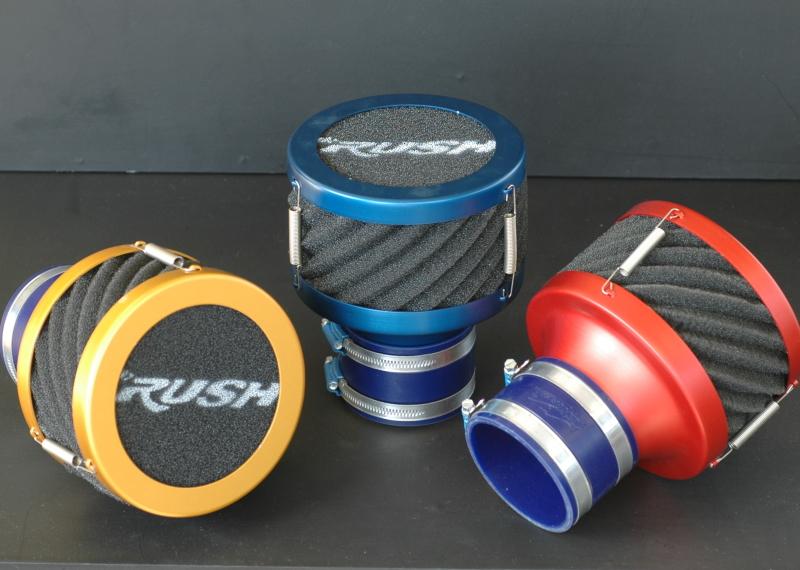 むき出しタイプのエアクリーナー RUSHフィルター カラー3色